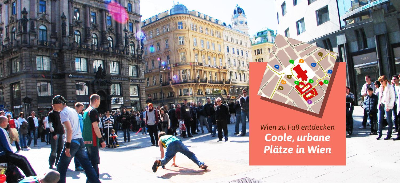 Wien Stadtplan Straßenkünstler am Stock im Eisen Platz